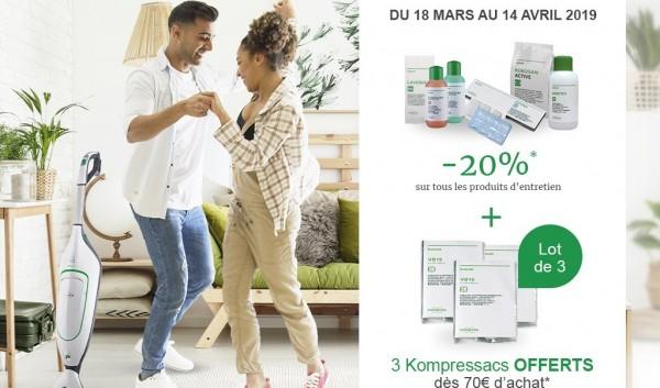 Offre -20% sur les produits d'entretien et 3 Kompressacs offerts à 70€ d'achat Kobold*
