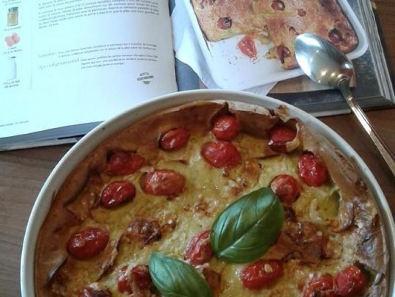 Clafoutis aux tomates et pesto